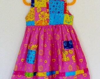 Reduce Price - A Colorful Twirly Patchwork Girl Dress Birthday Dress, summer dress