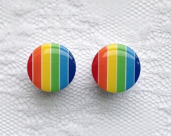 """Rainbow Vintage Style Pair Plugs Gauges Size: 9/16"""" (14mm)"""