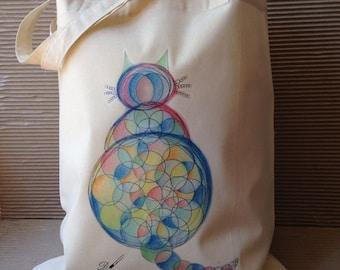 Tote bag - cotton tote bag - cat lover - original design - reusable tote bag - shopping bag - eco tote bags - useful  bags - long handles.