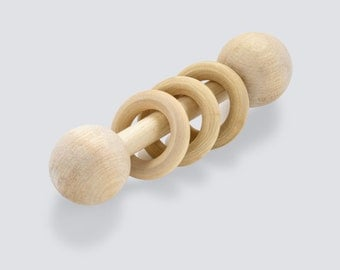 Montessori baby toy-wooden rattle-natural and organic-wooden musical instrument