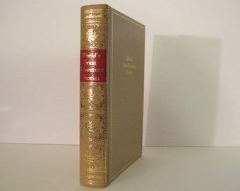 World's Great Adventure Stories Black's Readers Service Edition in Lovely Beige Leatherette With Gilt Decoration Vintage Book