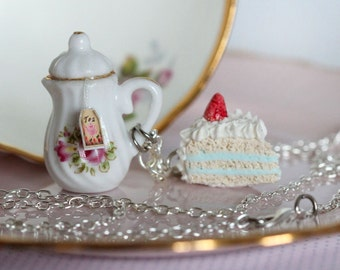 Tea Party Necklace - Food Necklace - Pastry Necklace - Kawaii Necklace -