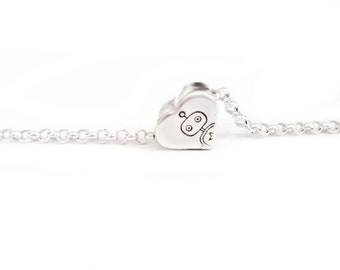 Bot Jewelry - Mr. Robot I Love You So Much - Handstamped Free Floating Mini Heart in Sterling Silver