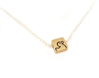 Portrait of a Duck - Free Floating Tiny Square Brass Necklace Pendant Handstamped
