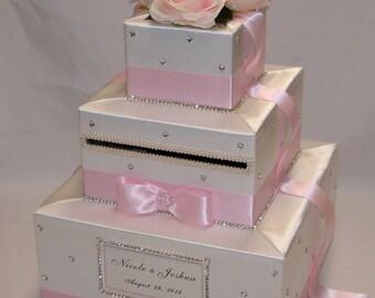 White/Pale Pink Wedding Card Box-Pink Roses-rhinestones