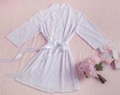 Lace Bridal Robe, Lingerie, Getting Ready, Bridal Gift, Bachelorette party Gift, Honeymoon, Lace Kimono, Wedding Gift, I do, White Lace