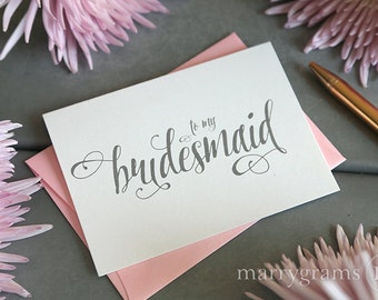 To My Bridesmaid, Maid of Honor, Wedding Bridal Party Thank You Note Cards - Bridesman, Man of Honor, Ring Bearer, Flower Girl CS12 Single