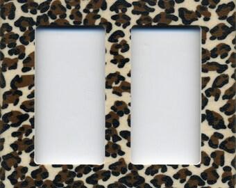 Cheetah Animal Print Double Decora Light Switch Plate