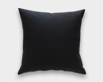 Solid Black Decorative Pillow Cover. 16x16, 18x18, 20x20 Throw Pillow Cover. Black Cushion Cover