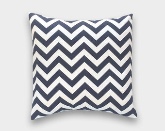 CLEARANCE 50% OFF Navy Blue Chevron Throw Pillow Cover. 16x16 Inches. Zig Zag Decorative Pillow.