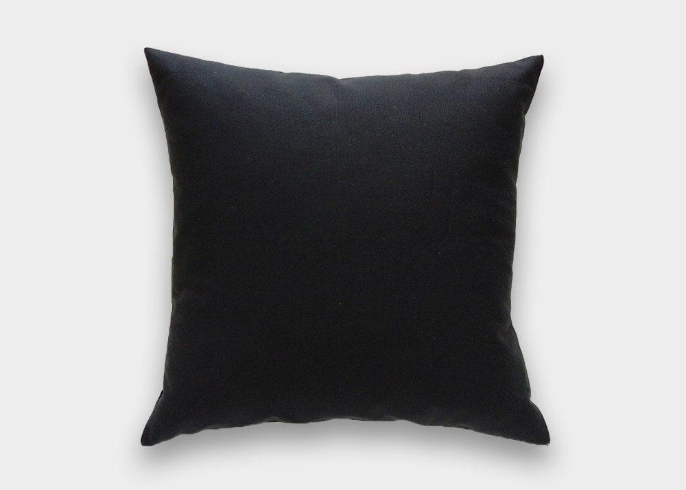 Plain Black Throw Pillow : Solid Black Decorative Pillow Cover. 16x16 18x18 20x20 Throw