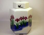 Vintage GINGER JAR or TEA Jar / Jennifer Wong / Franklin Mint Porcelain / Canister / Iris Flower - Birds / Purple, White & Blue