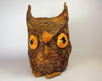 OWL Caddie / Vintage Paper Mache Pen - Pencil Holder - Container / Brown & Orange / Bird Figure / Screech