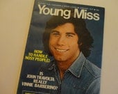 """Vintage 1977 John Travolta Cover of """"Young Miss"""" Magazine - 6 page """"Welcome Back Kotter"""" & John Travolta Article, fiction, fashions and more"""