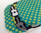 Eco-Organic Washcloth Set Cotton Terry Set of 3 Shower Gift Michael Miller Guitar GREEN Polka Dots Gift Set