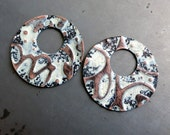2 Embossed Copper Offset Washers, Cookies n Cream Patina, Handcrafted Copper Components, Earring Findings
