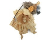 Kitchen Witch Doll Halloween Witch Doll Corn Husk Apple Head Doll with Cat HAGUILD