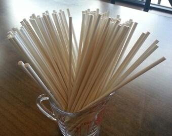 "8"" White Paper Lollipop Sticks (100)"