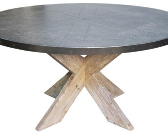 Hayward Zinc Top Round Dining Table With X Base