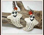 Halloween Earrings, Ghost Earrings, Spooky, Polymer Clay,  Lightweight