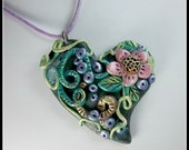Polymer Clay Floral Heart Pendant,  Pastel Colors,  Detailed Heart,  Wearable Art,  Multi-Colored,  OOAK