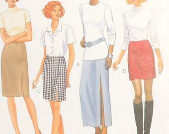 McCalls 2 Hour Skirt 1998 Uncut Misses Straight Skirts In Four Lengths Side Slit Sizes 4 6 8 Pattern Number 9356
