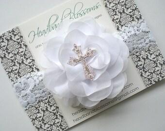 WHITE Chiffon Lace Cross Headband - Chiffon Flower Rhinestone Headband - Baptism Headband - Christening - First Communion - Confirmation