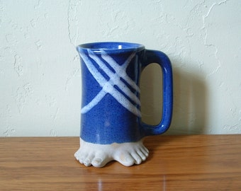 Vintage Ceramic Coffee Mug With Feet Five Bridges Pottery Blue White 1980 Footed Mug Beer Mug Stoneware