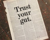 Art Print: 'Trust your gut' on a repurposed (broken dictionary) book page