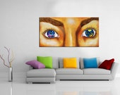 Galaxies painting, universe, stars, galaxy eyes, alien, fault in our stars, wall art, large, modern, original, home decor, planets, poster