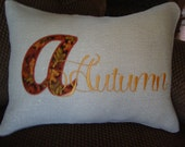 Autumn Fall Appliqued Burlap Throw Envelope Pillow Cover 12 By 16 Throw Pillow Machine Embroidered Throw Pillow Grannies Embroidery