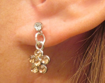 Champagne Flower Pierced Earrings Handcrafted in USA