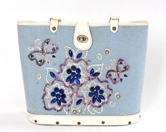 Vintage 1960s Bag . Caron of Houston Pale Blue Beaded Hand Bag . Enid Collins Style