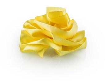 Yellow Satin Flower #1: Hair Pin, Hair Clip, Flower Girl Hair Accessories, Barrette, Brooch Pin, Headband, Bridal, Wedding, Ballroom Dancers