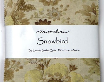 """Moda Charm pack SNOWBIRD PRINTS from Laundry Basket Quilts 42 5"""" squares cotton fabric floral blue cream"""