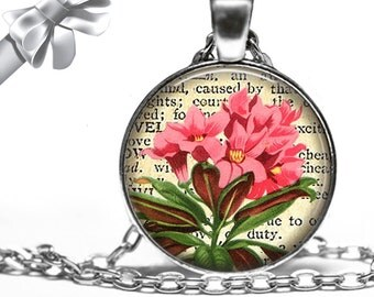 Pink Flowers on Dictionary Page Background Necklace Pendant - Choose Size