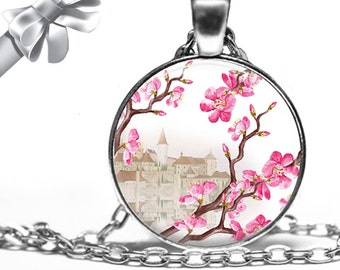 Oriental Background and Cherry Blossoms in Pink and Brown Necklace Pendant - Choose Size