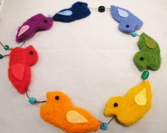 RAINBOW DUCK-Make your own needle felted rainbow duck garland-complete kit