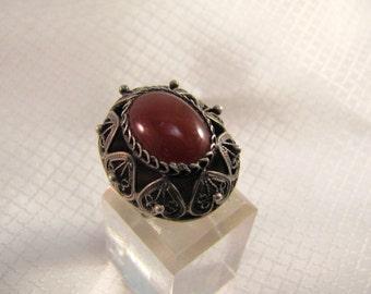 c1950's Israel Reuven Sterling Filigree and Carnelian Adjustable Ring