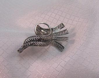 Mid century 800 Silver Modernist Ribbon Brooch