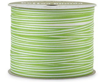 "50yds x 3/16"" Lime Green & White Stripe Cotton Curling Ribbon Natural Eco-Friendly (Free Shipping!)"