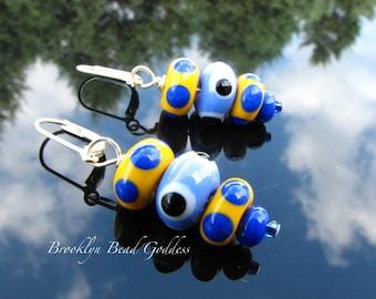 Lampwork Glass Bead Earrings Handmade Artisan Crafted Fireworked SRAJD SRA