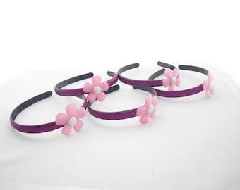 Set of 5 - Purple Headbands With Pink Flowers -Doc McStuffins Party Favors