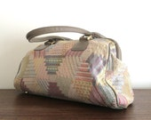 Vintage Geometric Tapestry Handbag Bag in grey and pastel colors made by Philllippe