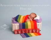 Rainbow Baby Wrap and Cloud Pillow
