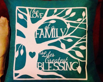 Family tree style cushion cover