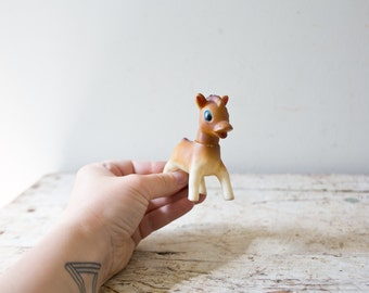 Small Horse Vintage Fawn Figurine Squishy Toy Vintage Pony Figurine Adorable Small Figurine Tiny
