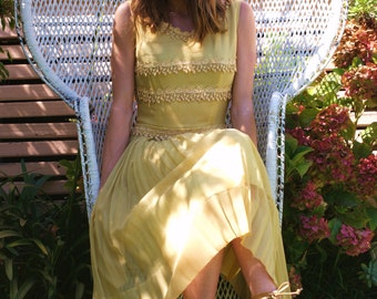 Vintage 1950s lace Chiffon upcycled frock
