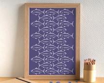 Fish Print - Tuna Print - Kitchen Art - Kitchen Print - Food Art - Food Print - Tuna Print - Fish Art - Gift for Foodie - Gift for Chef