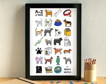 Dog Alphabet Print - Gift for Dog Lover - Dog Art Print - dog gift - dog art - gift for animal lover - alphabet of dogs